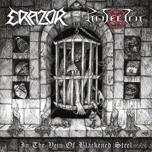 Protector / Erazor - In the Vein of Blackened Steel  Split EP white /Blue Vinyl  lim. to 250